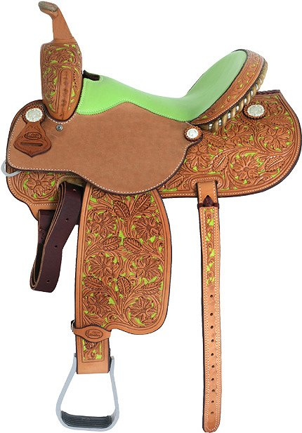 Cool Lime Green Barrel Racing Saddle from Cactus